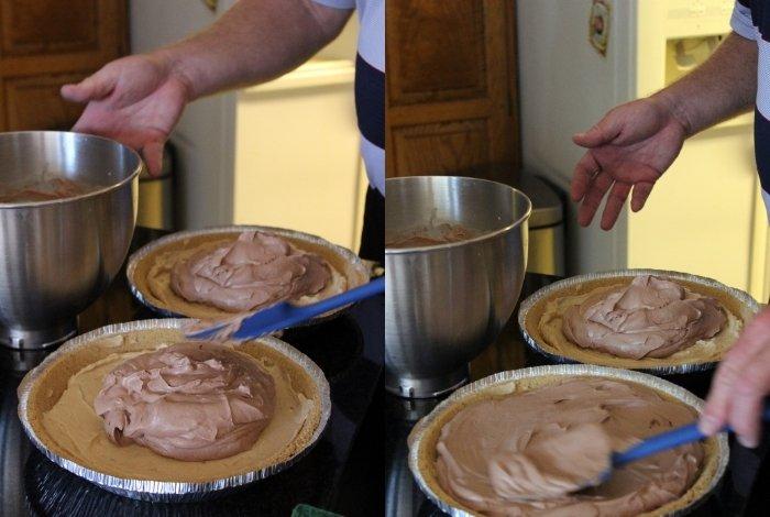 Making Choc-Peanut Butter pie filling