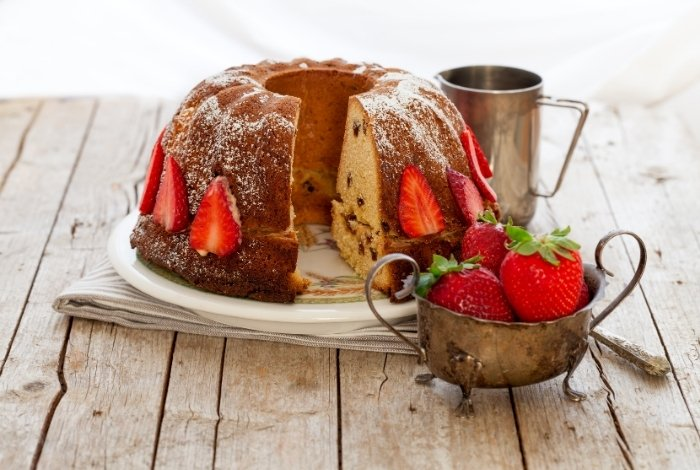 Strawberry Bundt Cake cool and ready
