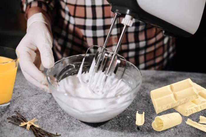Beat the frosting until smooth