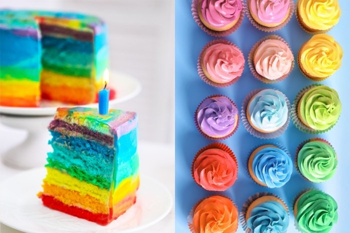 Multi-Colored Frosting On Cake