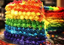 Multi Colored Frosting On Cake