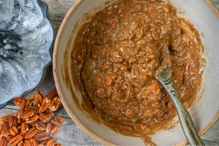 Pecans and cake batter